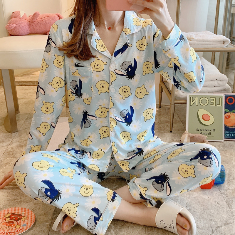 Spring Autumn Woman Pajamas Sets Long Sleeves And Turn-down Collar Sweater Suits With Cartoon Pattern Decor Female Sleepwea