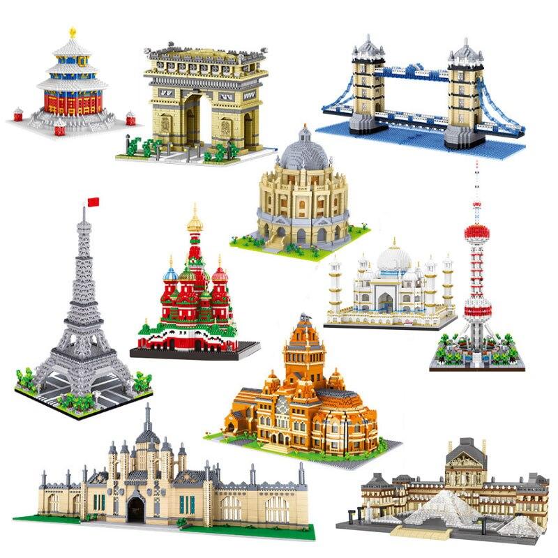 Алмазные строительные блоки Balody всемирно известной архитектуры, игрушка, тадж-махал, церковь васси, Биг-Бен, Лондонский мост