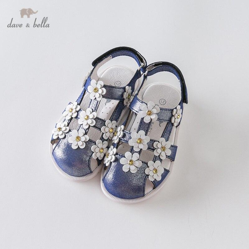 DB12879 Dave Bella Summer Baby Girls Fashion Sandals New Born Infant Shoes Sandals Floral Appliques Shoes