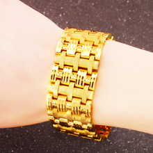 Men's Bracelet Curb Cuban Link Chain real 24K gold Mens Womens Wide Bracelets Bangle Gold Wrap Jewelry father son friend gifts