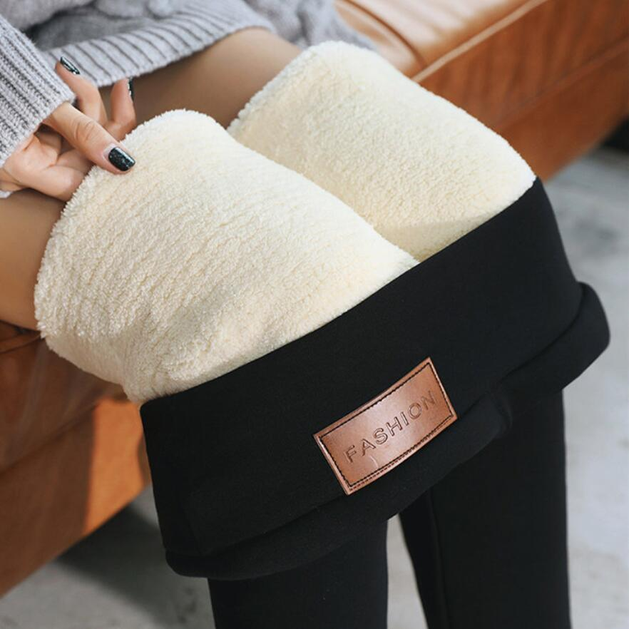 2019 Black Super Warm Pants Winter Skinny Thick Velvet Casual Wool Fleece Trousers Lambskin Cashmere Pants For Women Leggings
