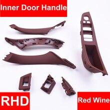 4/7PCS Rechts Hand Stick RHD Für BMW 5 series F10 F11 520 525 Wein Auto Innen Tür griff Inneren Panel Pull Trim Abdeckung Armlehne