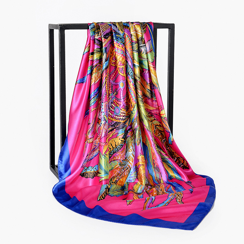 90*90cm Fashion Hair Scarf For Women Square Shawls And Wraps Print Kerchief Silk Satin Hijab Scarfs 2019 Head Scarves For Ladies