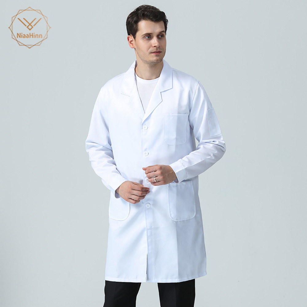 New Long Sleeved White Lab Coat Medical Uniforms Men Chef Coat Catering Hotel Kitchen Uniform Restaurant Chef Clothes M-4XL