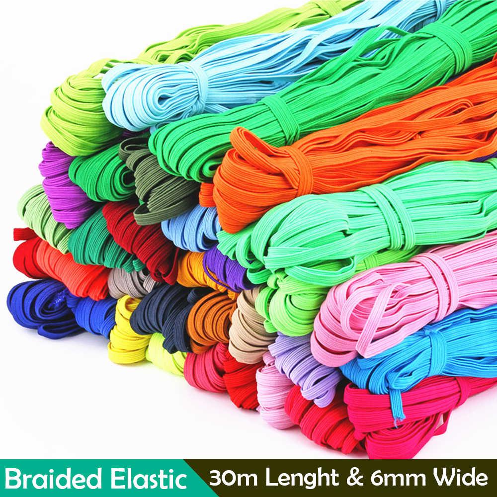 라운드 탄성 로프 고무 밴드 바느질 액세서리 30m 다채로운 DIY 6mm 바느질 코드 공예 꼰 니트 밴드 마스크 만들기