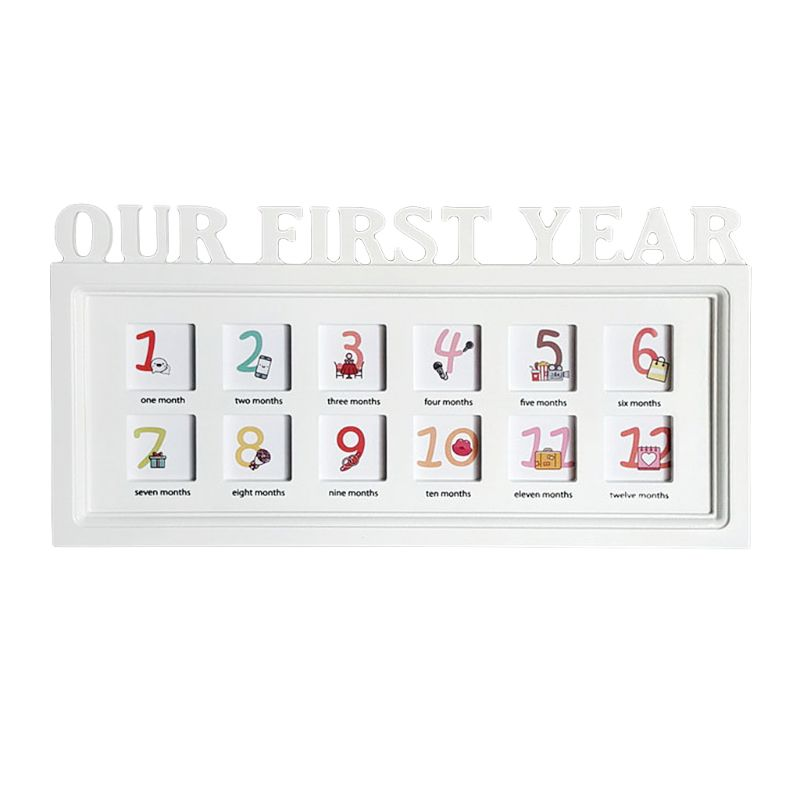 Personalized Wooden Our First Year Wedding Couple Photo Picture Frame 12 Months Home Room Decoration
