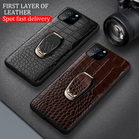 case iphone 5 Magnetic ring holder case for iphone 11 pro max Genuine leather shockproof protection cover for iphone 7 8 Plus X XS XR 6 S 5 SE (5)