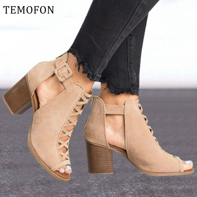 TEMOFON 2020 women square heel Sandals peep toe hollow out chunky gladiator sandals with strap black spring summer shoes HVT791 2