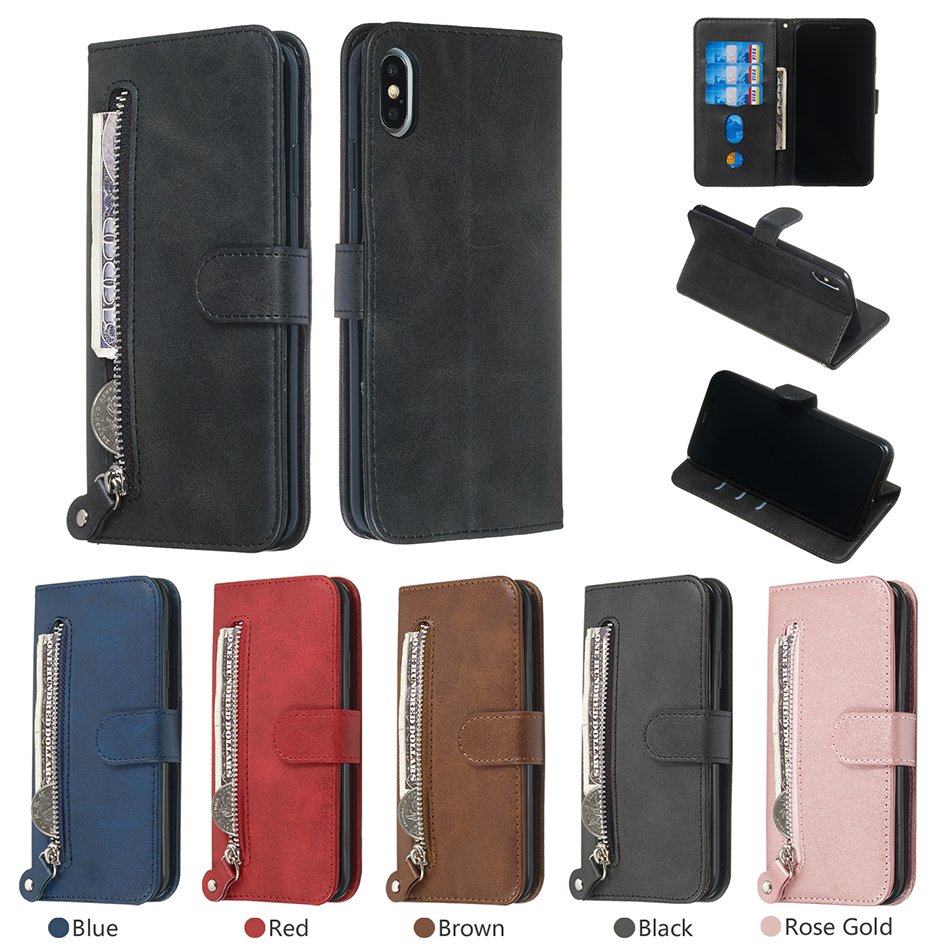 Zipper Wallet PU Leather Stand <font><b>Case</b></font> For Samsung <font><b>Note</b></font> 10 Pro <font><b>With</b></font> Card Slot Flip Cover Galaxy A7 2018 A750 A70 A70S M30 A40S A40 image