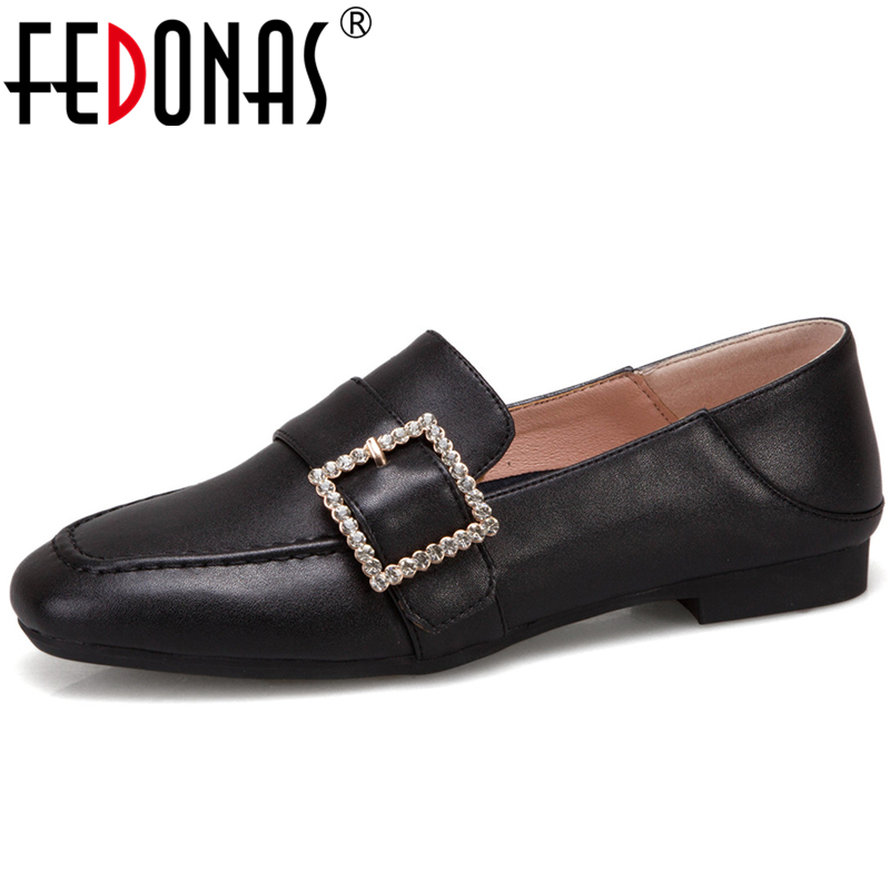 FEDONAS Women Cow Leather Casual Shoes Spring Summer Metal Buckles Rhinestone Shallow Square Toe Shoes Concise Shoes Woman