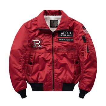 Thick fleece pilot jacket men streetwear hip hop jackets 2019 baseball military bomber windbreaker jacket man parka coat 4XL