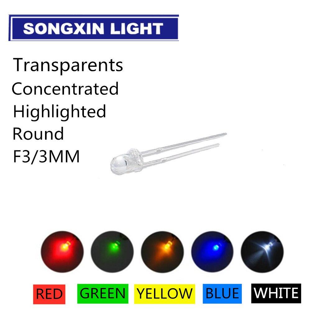 50 шт. X 5 цветов = 250 шт. 3 мм белый красный желтый синий зеленый светоизлучающий диод супер яркая лампочка Светодиодная лампа новый круглый