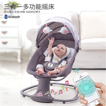 Baby Electric Rocking Chair To Appease Smart Cradle To baby Sleeping Artifact Electric baby Rocking bed Swing baby rocking chair bb electric rocking chairs shaker can lie flat cradle to appease the rocking chair to coax sleep swing