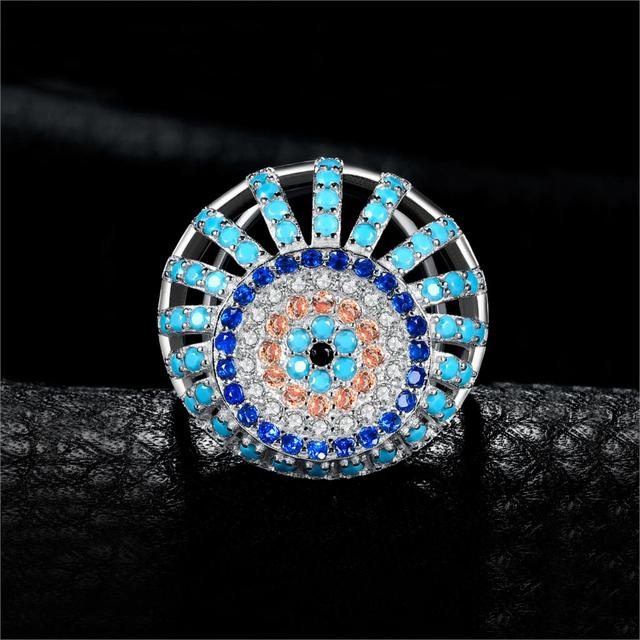 JewelryPalace Bohemian Boho Simulated Turquoise Ring 925 Sterling Silver Rings for Women Party Cocktail Ring Silver 925 Jewelry 1