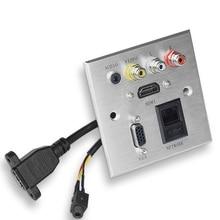 알루미늄 패널 벽 멀티미디어 소켓 HDMI + VGA + 네트워크 + 오디오 + FL + FR 신호 인터페이스 패널 소켓 사무실 학교 호텔 홈