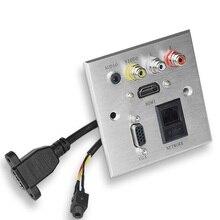مقبس حائط من الألومنيوم متعدد الوسائط HDMI + VGA + شبكة + صوت + FL + FR مقبس لوحة واجهة الإشارة لمكتب المدرسة فندق المنزل