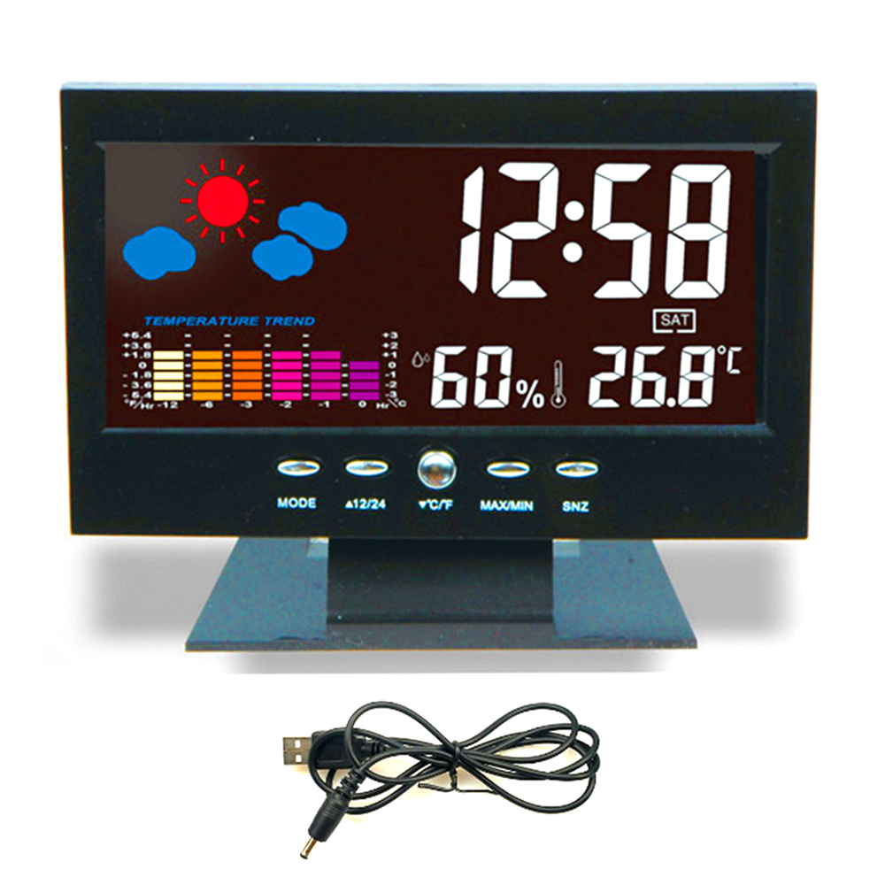 Color Screen LCD Digital Weather Forecast Snooze Temperature Alarm Clock