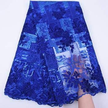 Soft Royal Blue African Embroidery Tulle Lace Fabric 2019 High Quality Lace French Velvet Lace Fabric With Sequins 5 Yards S1752