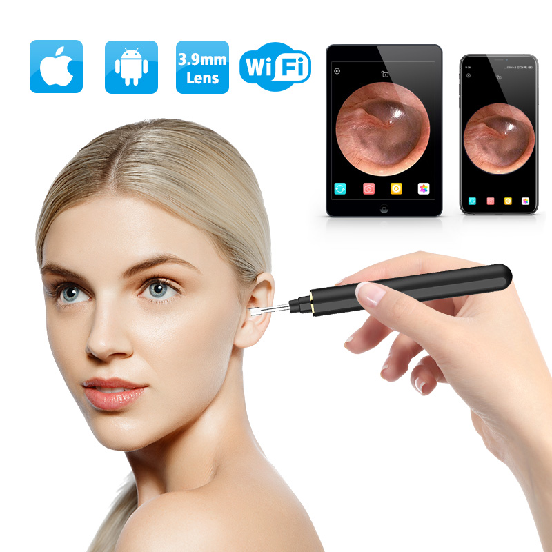 Wireless Otoscope 3 9mm Ultra-Thin WiFi Ear Scope Camera with Earwax Removal Tool and 6 LED with Tmperature Control For Iphone