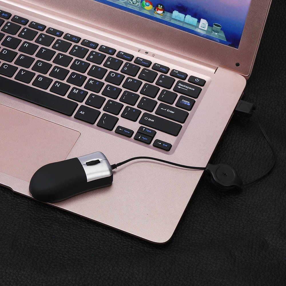 Ideal para los amantes de los juegos, Mini ratón con cable retráctil USB con rueda de desplazamiento óptico para ordenador portátil