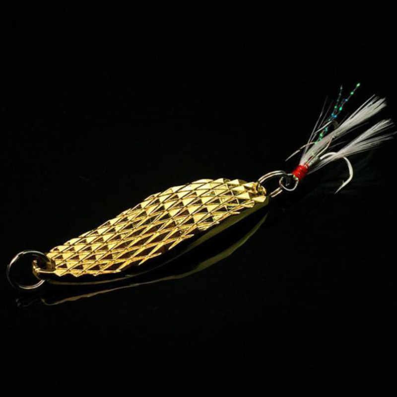 1Pc Logam Spinner Sendok Umpan Pancing 7G 10G 15G Emas Perak Berputar Keras Umpan untuk Ikan Trout pike Bulu Treble Hook Tackle