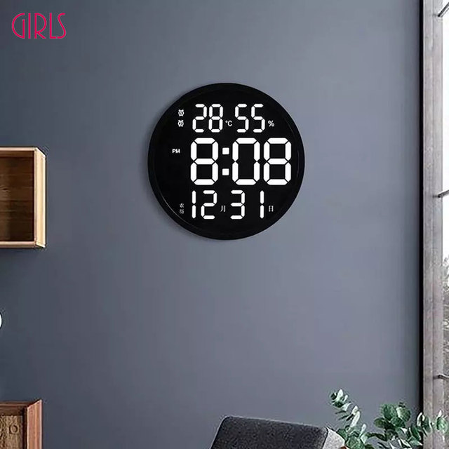 12 Inch LED Large Number Wall Clock Digital Temperature And Humidity Electronic Clock Modern Design Decoration Home Office Decor