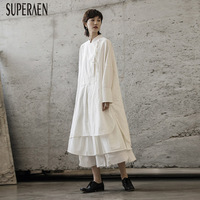 SuperAen New 2019 Autumn Chinese Style Women Dress Cotton Solid Color Casual Ladies Dress Linen Fashion Women Clothing