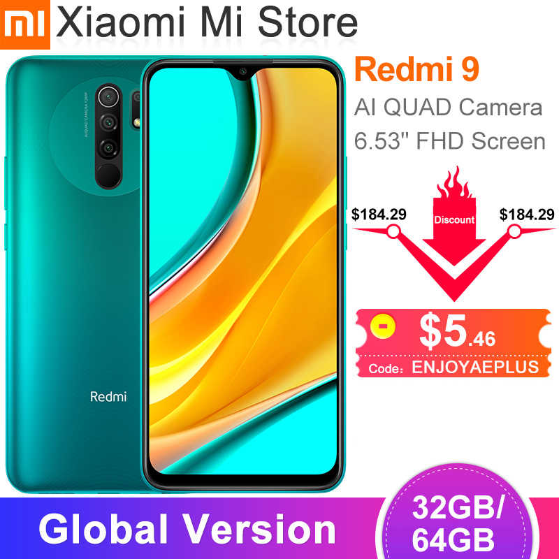 "In Stock Global Version Xiaomi Redmi 9 สมาร์ทโฟน 3GB 32GB Helio G80 Octa Core 13MP AI Quadกล้อง 6.53 ""จอแสดงผล 5020MAh"