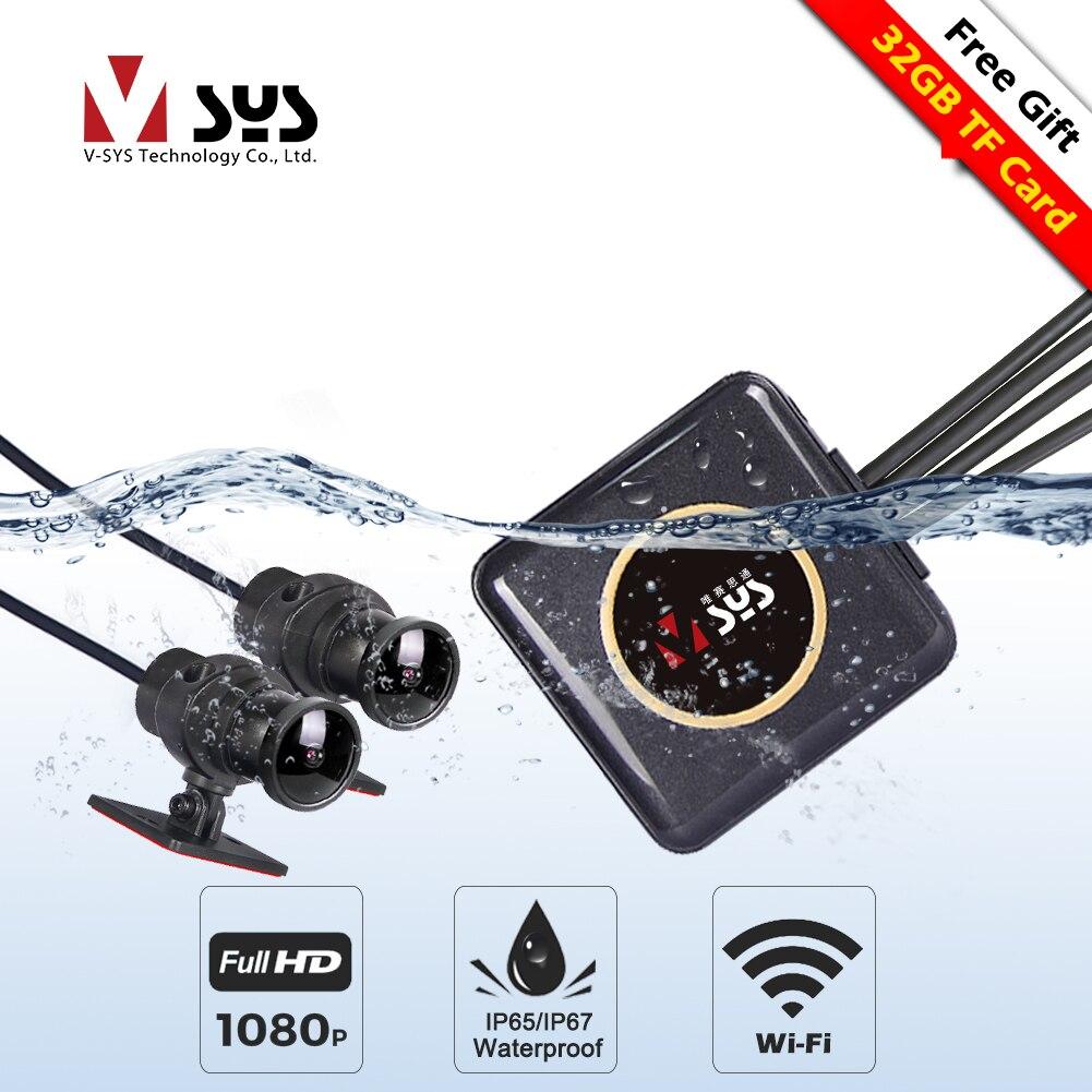 SYS VSYS P6FL мото регистратор камера для мотоцикла мотоцикл видеорегистратора Двойной 1080P SONY IMX323 CMOS сенсор полного тела водонепроницаемый WiFi App ...