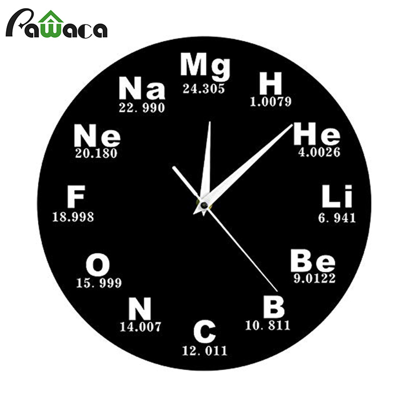 3D Wall Clock Acrylic Silent Chemistry Periodic Table Frameless Vintage Wall Clock Battery Operated Home Wall Decor Sticker Gift