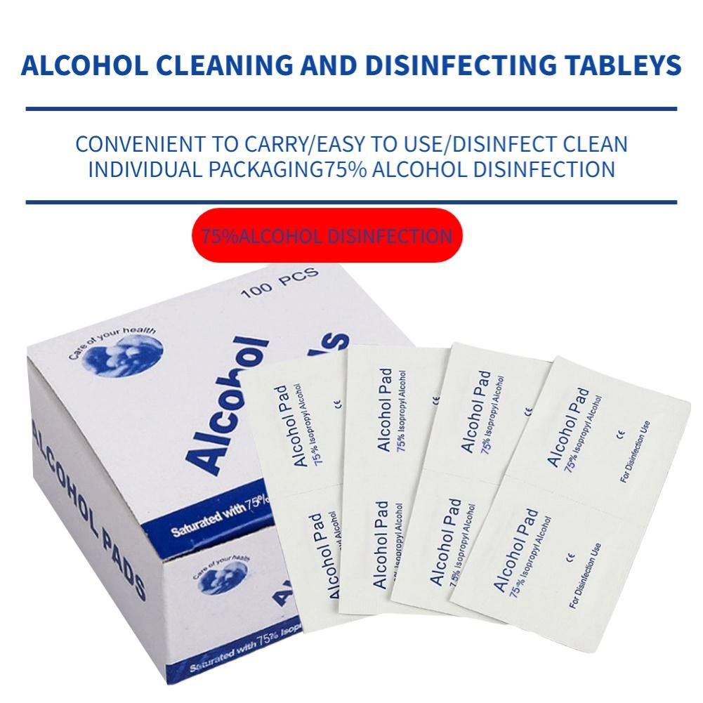 100Pcs Disposable Alcohol Cotton Pads Tablets Wounds Disinfection Wipes Cleanser Phone Hand Sanitizing Paper Towels
