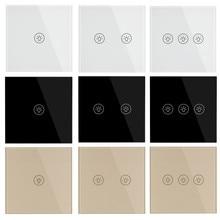 Стандарт ЕС настенные сенсорные переключатели роскошный белый черный Золотой Кристалл стекло 1 2 3 банды 1 позиционный переключатель AC 220-250 В 5A светильник переключатель