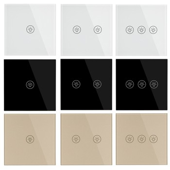 EU Standard Switches Wall Touch Switch Luxury White Black Gold Crystal Glass 1 2 3 Gang 1 Way Switch AC 220-250V 5A Light Switch ievon luxury wall touch sensor switch eu uk standard light gray crystal glass touch switch power 1 2 3 gang 1 way ac 220