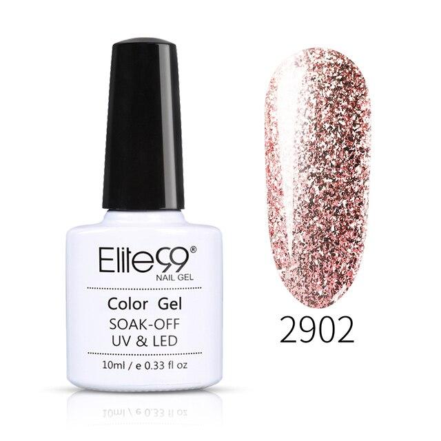 Elite99 10ml UV Gel Nagellack Rose Gold Glitter Pailletten Gel Lak Professionelle Farbe Gel Lack Tränken Weg Von UV nail art Gel Polnisch