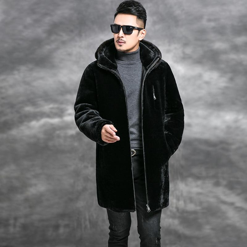 Real Sheep Shearling Fur Coat Men's Winter Jacket Men Mink Fur Collar Real Wool Coats Luxury Warm Jackets 5xl Veste Homme MY1622