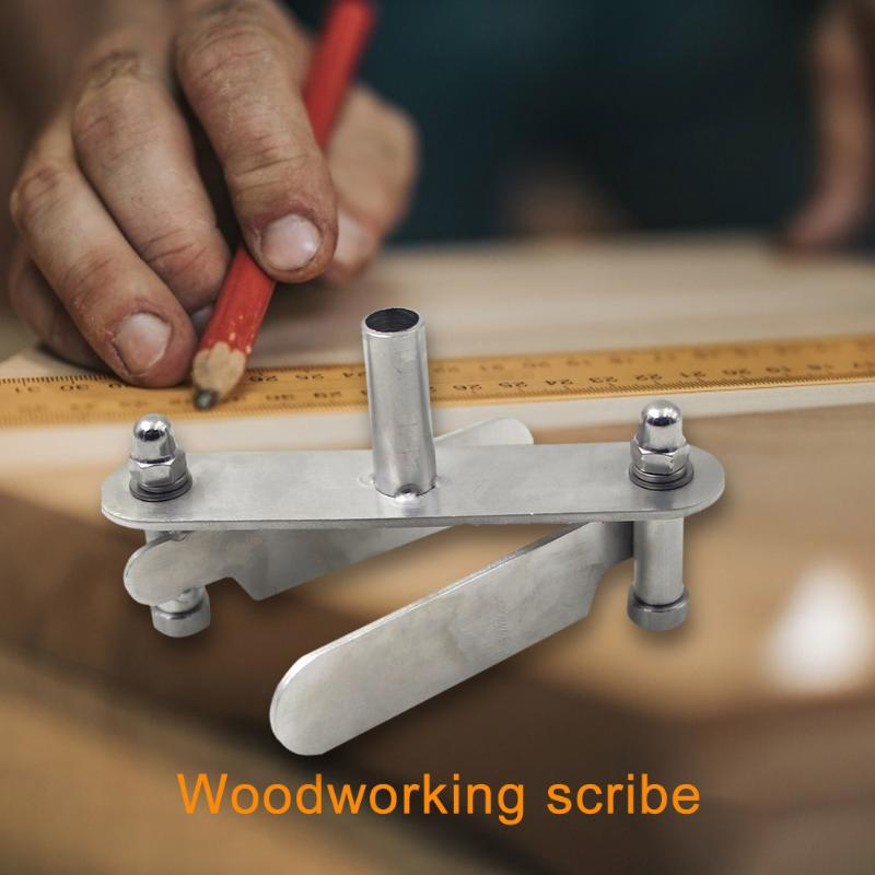 Carpenter Woodworking Scriber Sliding Ruler Mark Line Durable Stainless Steel Wooden Gauge Measuring Tool Scribing Device