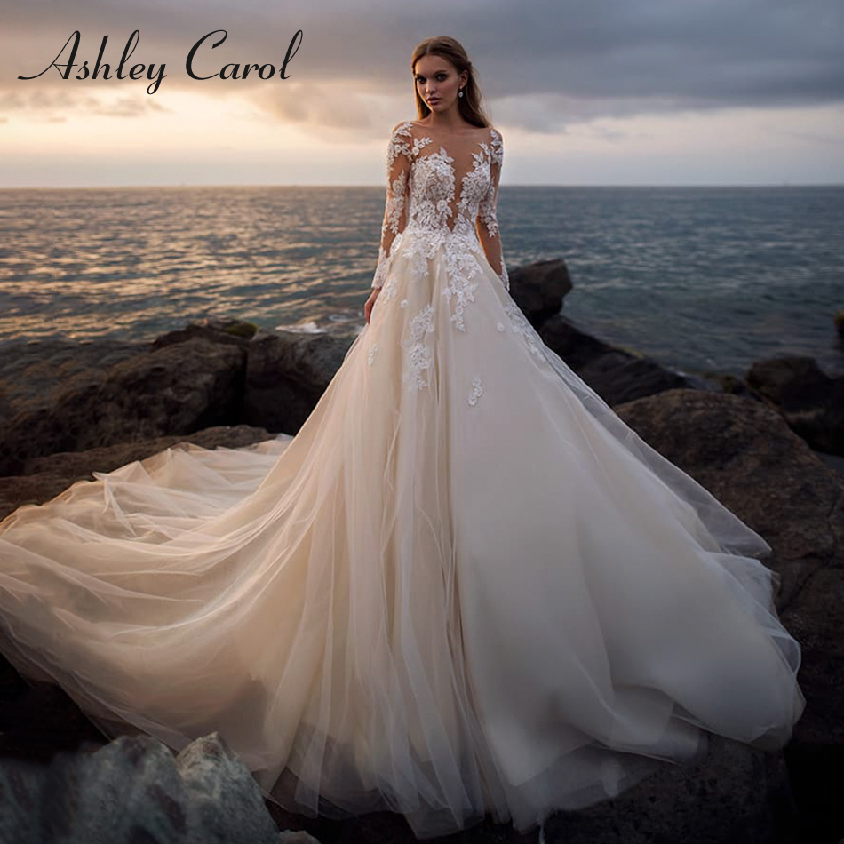 Ashley Carol Illusion Long Sleeves Wedding Dress 2020 Romantic Lace Bridal Dress Beach A-Line Wedding Gowns Vestido De Novia