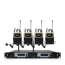 Professional wireless in-ear monitoring system 2 channels 4 bodypack monitors, with in-ear wireless monitoring type for stage