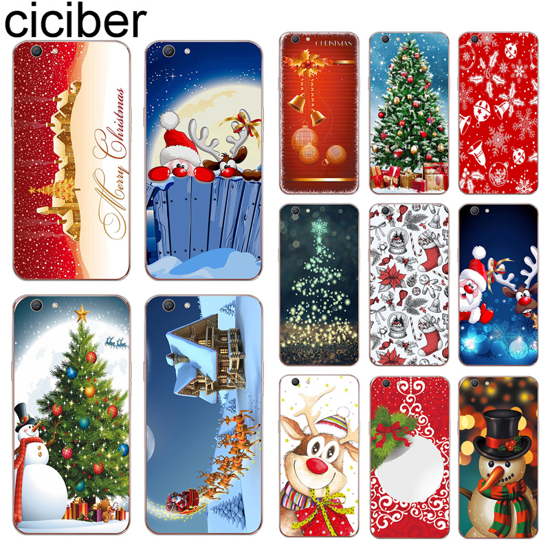 ciciber <font><b>Phone</b></font> <font><b>Case</b></font> Coque Cover For <font><b>OPPO</b></font> A83 A59 A57 A39 <font><b>A37</b></font> A5 A7 AX7 A3S F1S F11 F5 Youth Soft Silicone Snowman Merry Christmas image