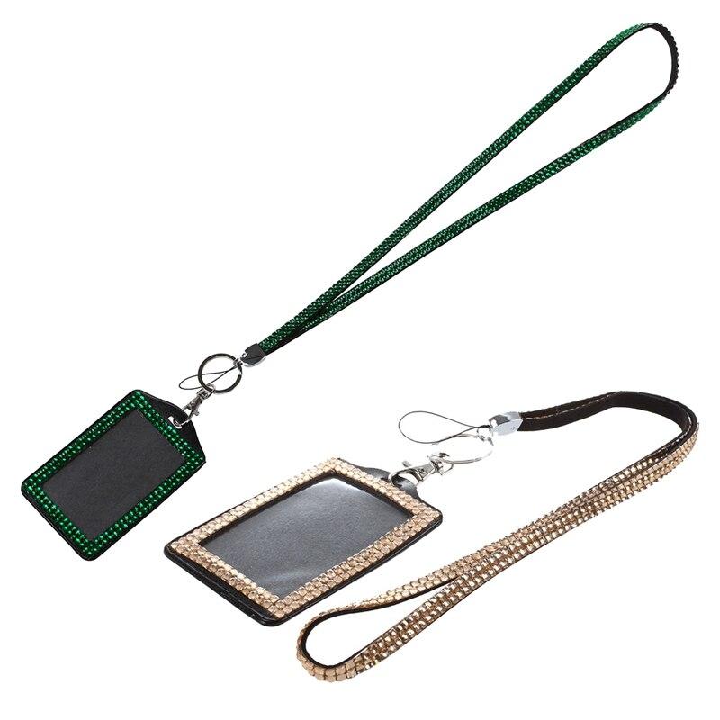 2 Pcs Rhinestone Bling Crystal Custom Lanyard Vertical ID Badge Holder - Champagne & Dark Green