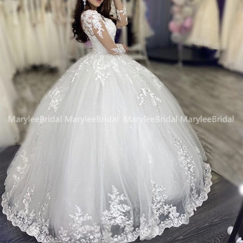 Puffy Ball Gown Long Sleeves Wedding Dress Sheer O-neck Appliques Russia Bride Dress Sparkle Tulle Wedding Gown Vestido De Novia