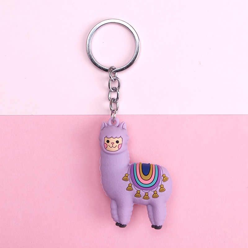 Cute Cartoon Alpaca lalki brelok zabawka dziecięca zwierząt dzwonki breloczek ozdoby samochodowe Klucz do torebki łańcuchy prezent dla torba kobieca urok biżuterii