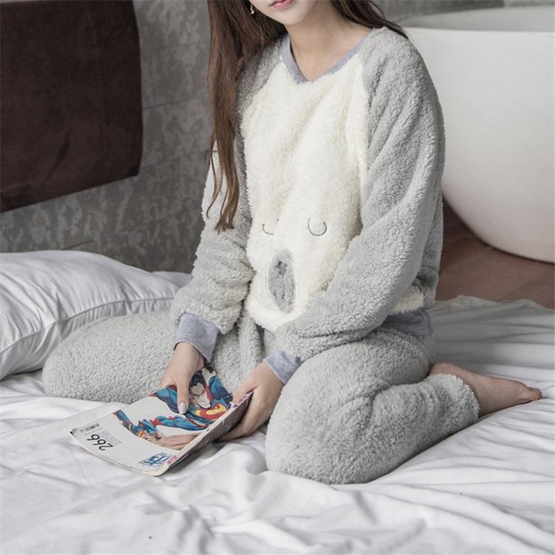 2019 Winter Autumn O Neck Cartoon Pullover And Long Trousers Women Nightie Woman Flannel Thick Fleece Warm Women's Pajamas Set
