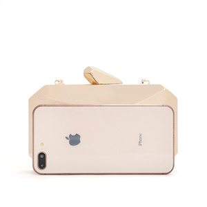 Image 2 - Gold Acrylic Box Geometric bags Clutch Evening Bag Elegent Chain Shoulder Bag for Women 2020 Handbag For Wedding/Dating/Party