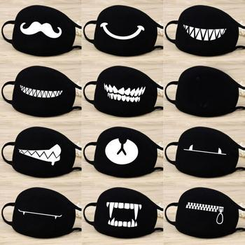 Cotton Funny Washable Mouth Mask Dustproof Face Mouth Mask Cartoon Face Reusable Fabric Bear Fashion Smile Party Mask cotton dustproof anime cartoon lucky bear mask combed cotton skull mouth masks half muffle face mask 1 piece
