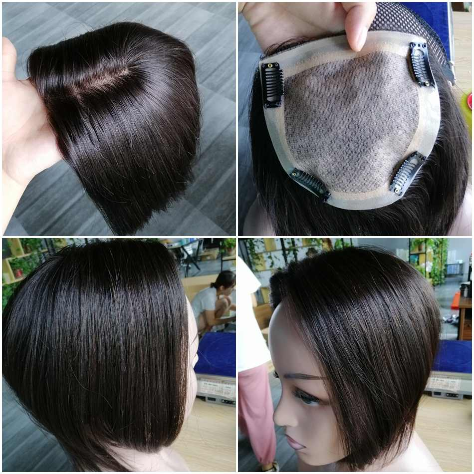 "10 ""12"" 14 ""Peluca de pelo humano para mujer 12*12 Base de PU MONO transpirable con pinza de pelo peluquín Remy"