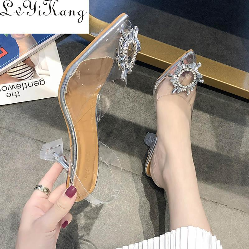 New Luxury Women Pumps 2019 Transparent High Heels Sexy Pointed Toe Slip-on Wedding Party Brand Fashion Shoes For Lady PVC