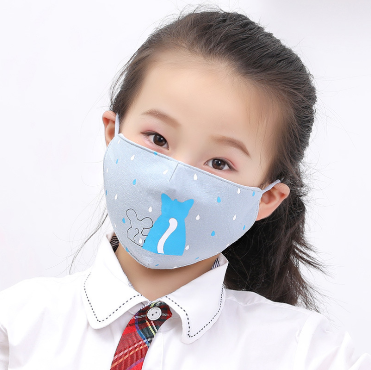 2PCS Lovely Childern Cotton Mouth Mask Washable Reusable Activated Carbon Filter Windproof Kids Mouth Mask Random Style