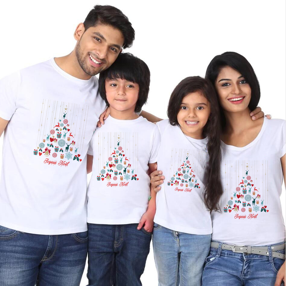 1pc Joyeux Noel And Bonne Annee Christmas Family Look White Tshirt Boy Girl And Parents Family Look Matching T-shirts Babe Cute