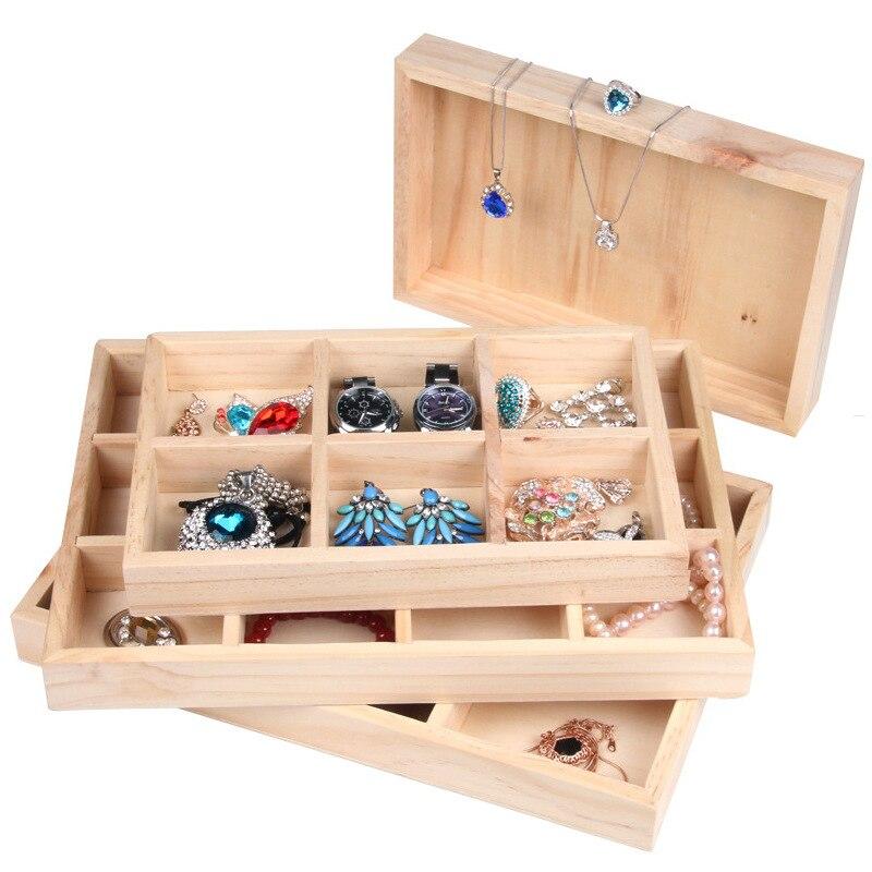 Bandeja de exhibición de joyería de madera apilable 6/12 bandeja de anillo organizador de joyería para el soporte de almacenamiento de la pulsera de la tienda